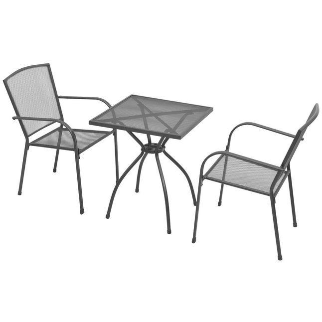 Set mobilier de exterior tip bistro, 3 piese, plasă de oțel foto mare