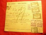 Buletin de Expeditie Ungaria 1918 cu marca fixa  10 filler si 3x80 filleri marci