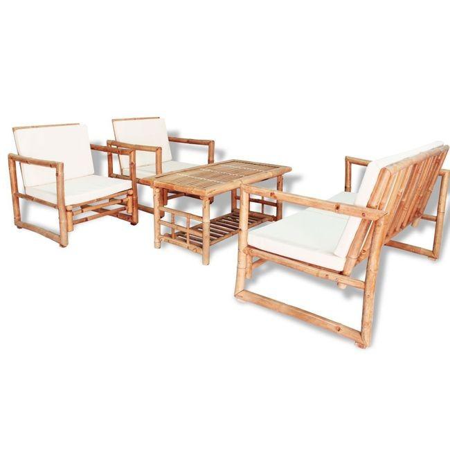 Set mobilier de grădină 12 piese, bambus foto mare