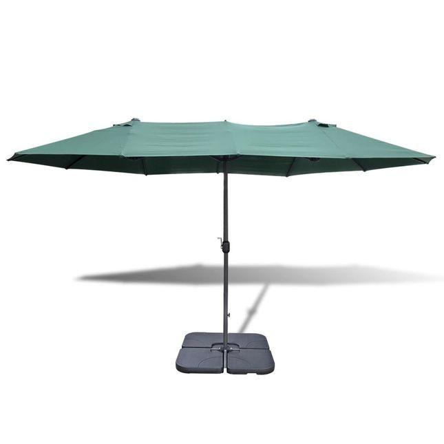 Umbrela cu baza portabila, 2,7 x 4,6 m, aluminiu, Verde