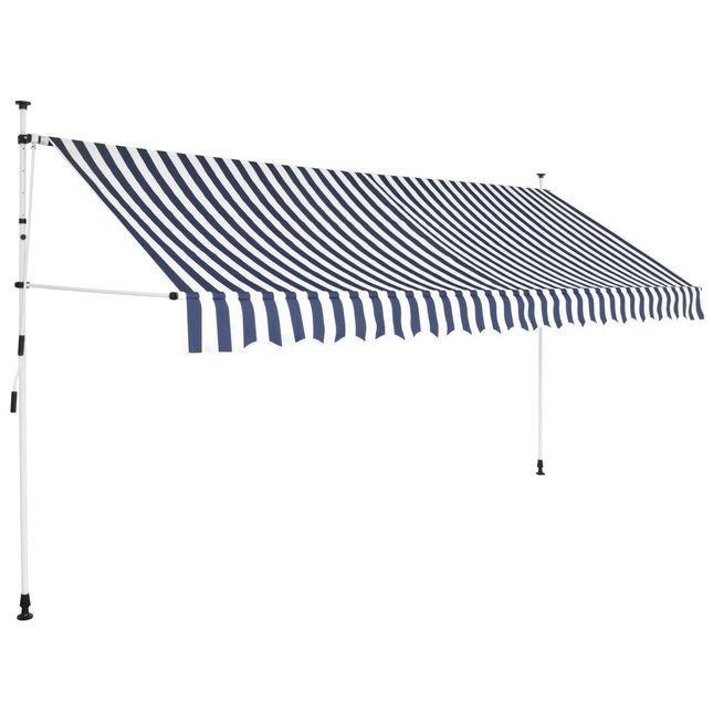Copertina retractabila manual, 400 cm, dungi albastru ?i alb foto mare