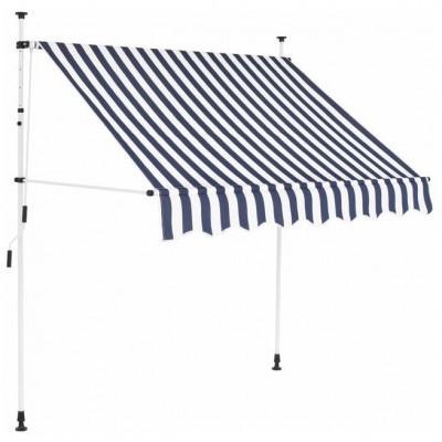 Copertina retractabila manual, 150 cm, dungi albastru ?i alb foto