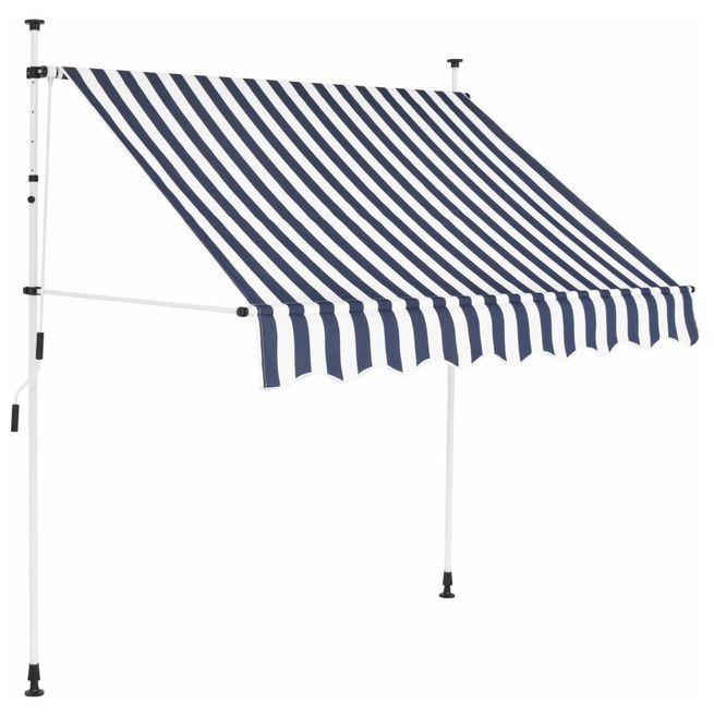 Copertina retractabila manual, 150 cm, dungi albastru ?i alb