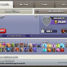 Vand cont clash of clans cu got cu clan lv 9 si contjl th 10 max.
