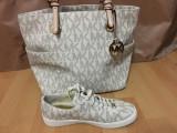 Set geanta si adidasi originali Michael Kors, Alb, Michael Kors