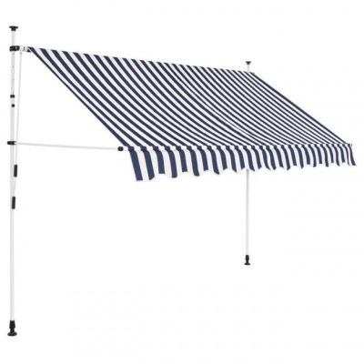 Copertina retractabila manual, 300 cm, dungi albastru ?i alb foto