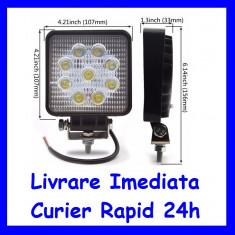 Proiector LED 12V - 24V Lucru Santier  OFFRoad Patrat lumina FLOOD 27W F15-2