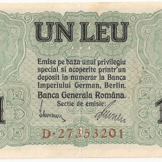 ROMANIA 1 LEU BGR 1917 XF - Bancnota romaneasca