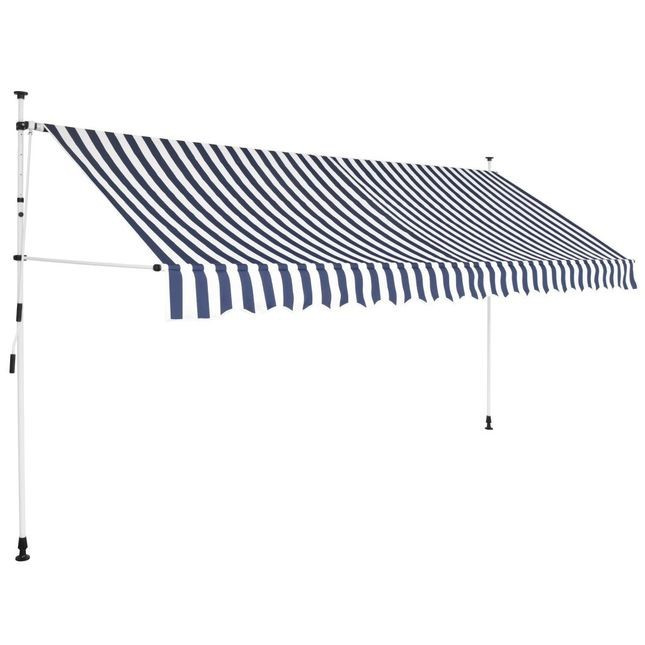 Copertina retractabila manual, 350 cm, dungi albastru ?i alb