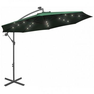 Umbrela suspendata, iluminare LED, 300 cm, verde, stalp metalic foto