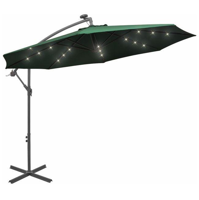 Umbrela suspendata, iluminare LED, 300 cm, verde, stalp metalic
