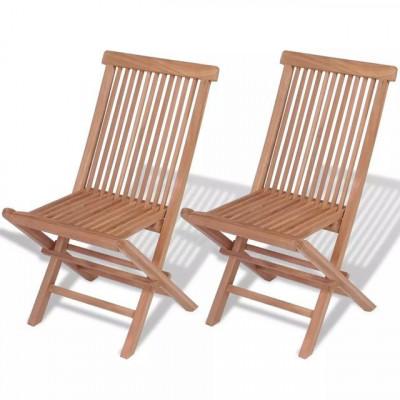 Scaun din lemn de tec 47 x 60 x 89 cm 2 buc. foto