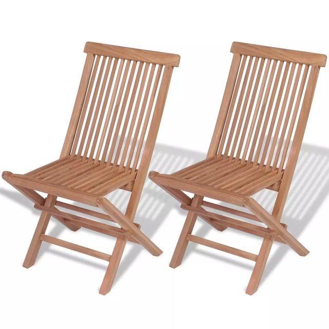 Scaun din lemn de tec 47 x 60 x 89 cm 2 buc. foto mare