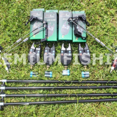 Set 4 Avertizori Senzori FL + 4 Swingeri Iluminare + 4 Tije Otel Calitate Pachet - Avertizor pescuit, Swingere