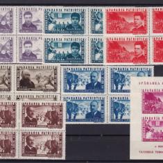 ROMANIA 1945 LP 168 LP 169 APARAREA PATRIOTICA BLOCURI 4 TIMBRE+COLITA MNH - Timbre Romania, Nestampilat