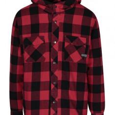 Jacheta in carouri rosu & negru cu gluga - Shine Original - haina de blana