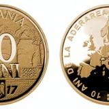ROMANIA 50 Bani 2017 UNC din fisic , Moneda Comemorativa 10 ani aderare UE