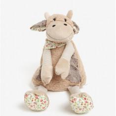Vacuta de plus bej cu buzunar depozitare pijama Something Special - Jucarie carucior copii