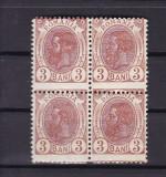 ROMANIA 1900/08 LP 54  d CAROL I SPIC DE GRAU 3 BANI EROARE BLOC DE 4 TIMBRE MNH, Nestampilat