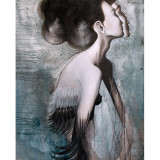 Poster Miss Rakatamizau, in nuante de gri si negru, Lena Brauner, 50 x 70 cm