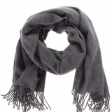 Fular gri inchis tricotat cu franjuri Pieces Eira - Fular Dama