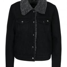 Jacheta neagra din denim cu blana ONLY Chris - haina de blana