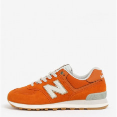 Pantofi sport oranj din piele intoarsa cu insertii din plasa pentru barbati - New Balance ML574, New Balance