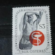 AUSTRIA 1966 – CONGRES MEDICINA, timbru nestampilat, AE4