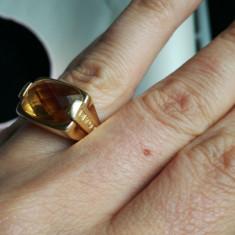 Inel din aur de 18 k cu citrin natural - Inel aur, Culoare: Galben