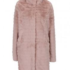 Jacheta roz pufoasa din blana artificiala - VILA Meria - haina de blana