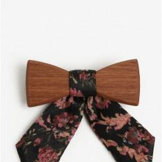 Papion din lemn cu funda textila pentru femei - BeWooden Rosis - Papion Barbati