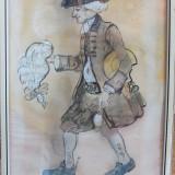 """Desen în acuarelă (""""Der Barbier"""") semnat Kollross, Portrete, Acuarela, Realism"""
