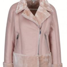 Jacheta roz prafuit din piele sintetica cu blana artificiala Miss Selridge - haina de blana