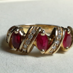 Inel din aur de 18k cu rubine naturale și diamante - Inel aur, Culoare: Galben