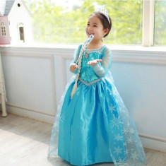 Rochie /Rochita model Printesa Elsa- Frozen + set accesorii, 3-4 ani, 4-5 ani, 5-6 ani, 6-7 ani, 7-8 ani, Din imagine