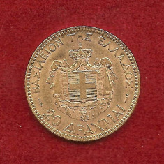 Moneda AUR 20 DRAHME Grecia -1884 - Regele George I-ul al Greciei - 6, 45 gr, Europa