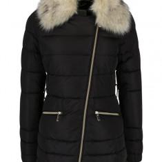 Geaca neagra matlasata asimetrica cu gluga si blana artificiala - Geox - haina de blana
