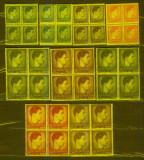 Romania 1947 Uzuale Mihai I - format mic si mare serie MNH in bloc de 4 lp 212, Nestampilat