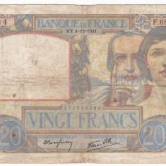 FRANTA 20 franci 4 decembrie 1941 F- P-92b - bancnota europa