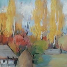 Peisaj, pastel de Mircea Pascalau pictor clujean