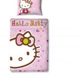 Set lenjerie patut Hello Kitty 70X100 - Lenjerie pat copii, 75x100cm, 2 Piese