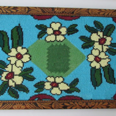 GOBLEN-FLORI-rama lemn gravata cu motive populare,vintage