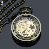 Ceas de buzunar de culoare bronz antic cu lant Mecanic Vintage Skeleton
