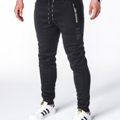 Pantaloni barbati, negru, slim, cu banda, siret si buzunare - P656