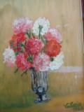 Vas cu garofite, tablou  vechi in ulei pe carton dur, Flori, Impresionism