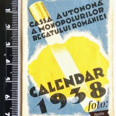mini Calendar vechi din 1938 cu Romania Mare