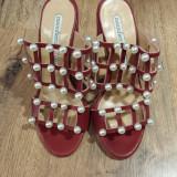 Superbe sandale-saboti dama noi piele grena decorati perle sz.37, Rosu, Piele naturala