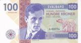 Bancnota Svalbard 100 Kroner 2018 - SPECIMEN ( proba pe hartie cu filigran )