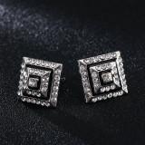 Butoni cristale albe  metalici  + ambalaj cadou, Inox