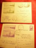 2 Carti Postale Techirghiol - Vedere pe Lac cod 387/72, verde si lila